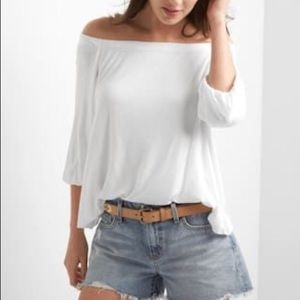 Gap off shoulder modal 3/4 length sleeve top S
